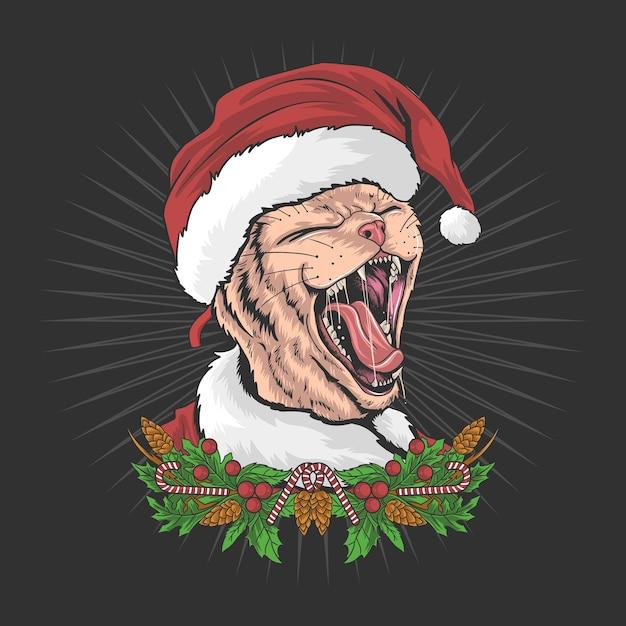 Рождественский кот в шляпе санта-клауса и кричит Premium векторы