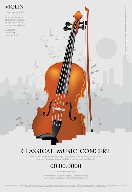 클래식 음악 컨셉 포스터 바이올린 일러스트 무료 벡터