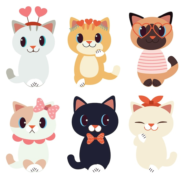 발렌타인 데이 테마의 귀여운 고양이 모음 프리미엄 벡터