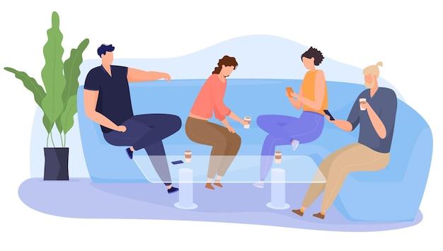 会社はソファの上のカフェに行き、楽しんで、ソーシャルネットワークに座っています。友達は一緒に時間を過ごします。フラットな漫画スタイルのカラフルなイラスト。 Premiumベクター