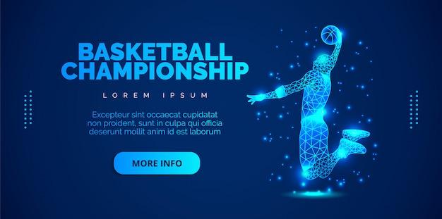 バスケットボールをする男のアートのコンセプト。テンプレートパンフレット、チラシ、プレゼンテーション、ロゴ、印刷、リーフレット、バナー。 Premiumベクター