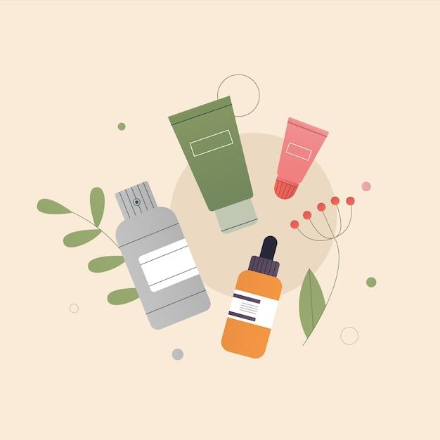 有機天然化粧品組成物の概念 Premiumベクター