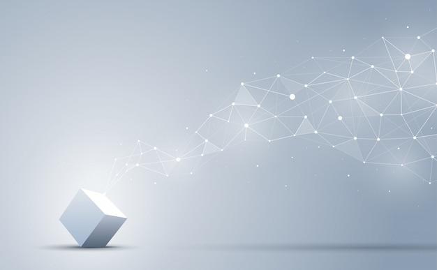 Соединение 3d куба с абстрактной геометрической полигональной с соединительными точками и линиями. абстрактный фон блокчейн и концепция больших данных. Premium векторы