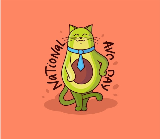 넥타이가 달린 귀여운 아보카도 고양이 소년. 레터링 문구가있는 만화 캐릭터-national Avo Day. 프리미엄 벡터