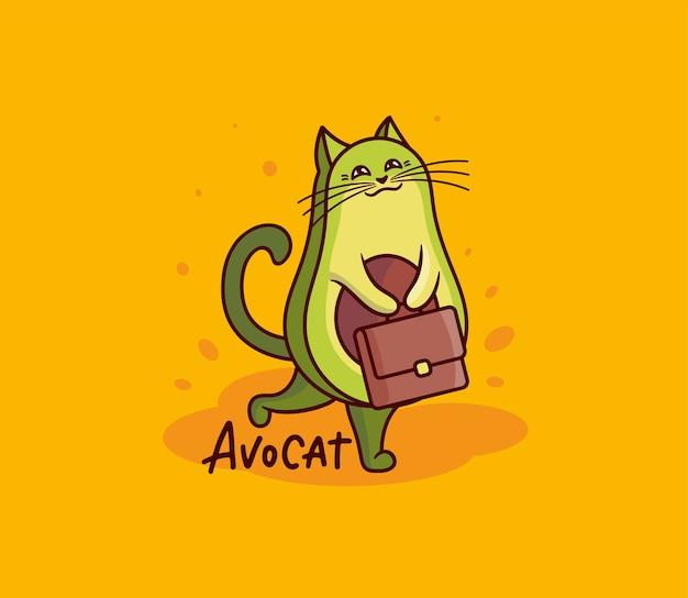 서류 가방이 달린 귀여운 아보카도 고양이 소녀. 레터링 문구가있는 재미있는 만화 캐릭터-avocat. 프리미엄 벡터
