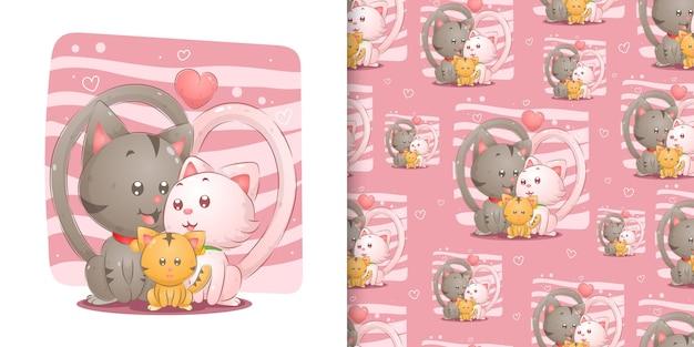 イラストのピンクの背景をシームレスに娘との愛に満ちたかわいい家族の猫 Premiumベクター