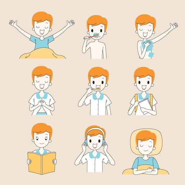 Распорядок дня мальчика, схема, различные занятия, обучение, расслабление Premium векторы