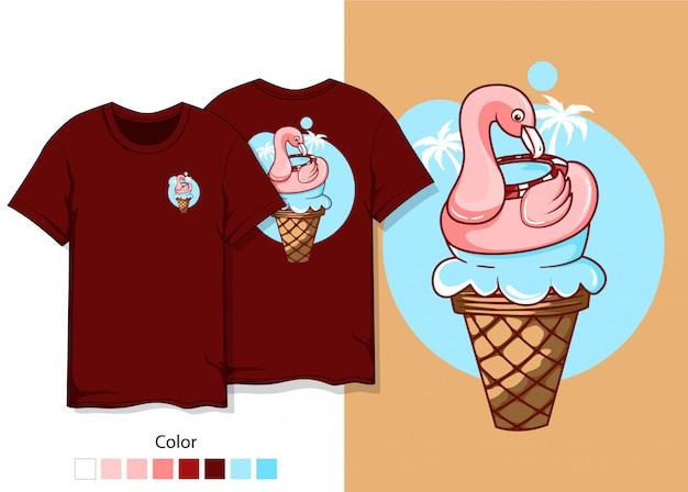 Tシャツのフラミンゴのデザイン Premiumベクター