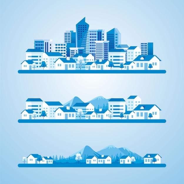 村の都市イラストへの発展 Premiumベクター