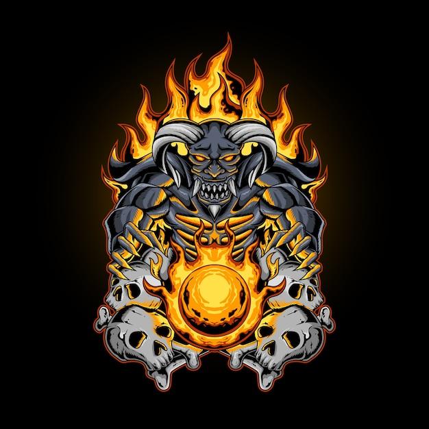 해골 뼈를 가진 악마의 불 공 프리미엄 벡터