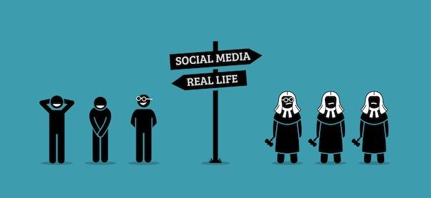 実生活とソーシャルメディアの人間行動の違い。 Premiumベクター