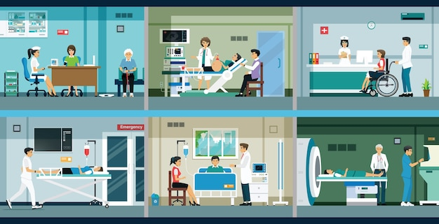 Врачи лечат и консультируют пациентов в больнице. Premium векторы