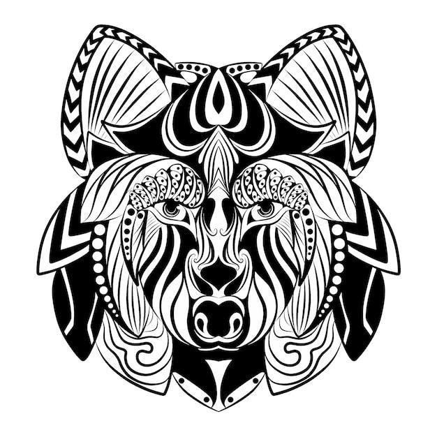 スケッチを描くための美しい飾りとzentangleオオカミの落書きアート Premiumベクター