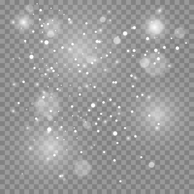 ほこりの火花と金色の星が特別な光で輝いています。透明な背景にきらめきます。クリスマスライト効果。きらめく魔法のほこりの粒子。 Premiumベクター