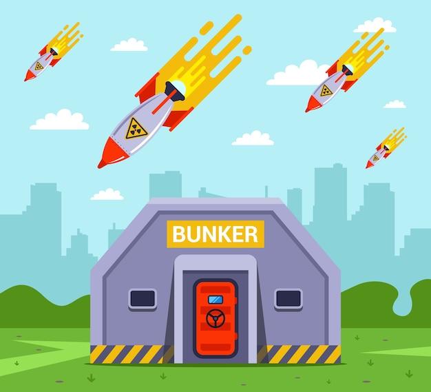 都市への核爆弾の崩壊。バンカーにいる人をミサイルから救出する。フラットイラスト Premiumベクター