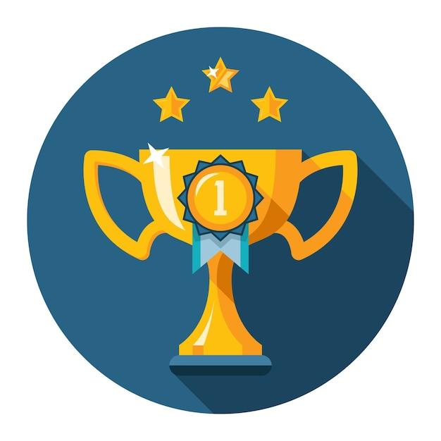 Трофей за первое место. золотой кубок победителя плоский значок. векторная иллюстрация Бесплатные векторы