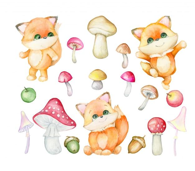キツネはかわいいです。森の赤狐、紅葉。セット、水彩。 Premiumベクター