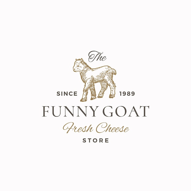 面白いヤギの抽象的な記号、記号またはロゴ 無料ベクター