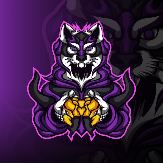 ゲーマーの砂漠の猫ゲーミングマスコットロゴ Premiumベクター