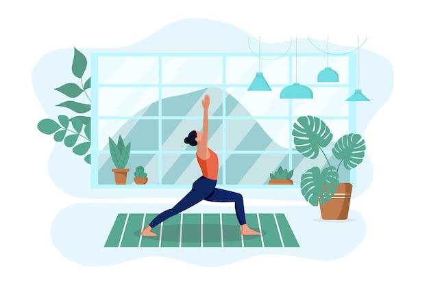 소녀는 집의 깔개에 거실에서 요가를 연습합니다. 그는 운동을하고 명상을합니다. 프리미엄 벡터