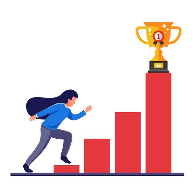 女の子は自分の目標に到達し、機会のはしごで賞を獲得します。フラットキャライラスト。 Premiumベクター