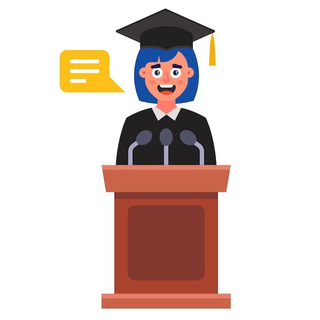 Девушка произносит прощальную речь на выпускном. квартира, изолированные на белом фоне. Premium векторы