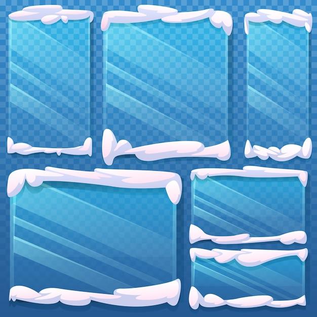 スノーキャップのガラスフレームが凍っている Premiumベクター