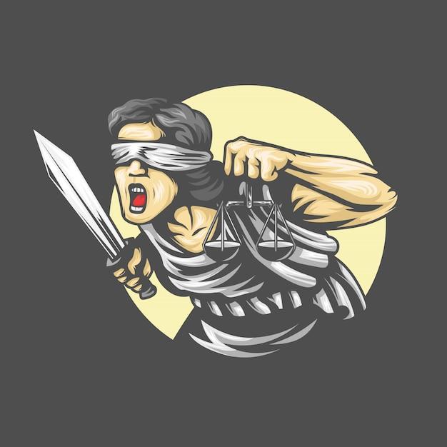 Богиня фемида с мечом справедливости и гирями в руках. кричащие эмоции. иллюстрация Premium векторы