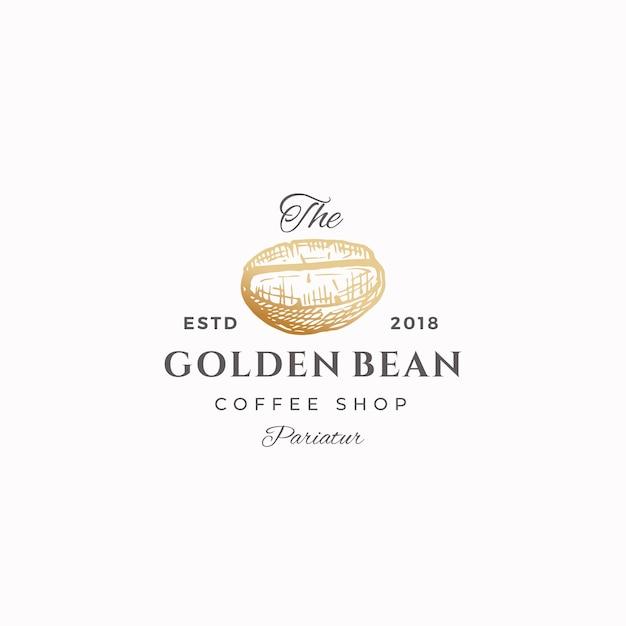 黄金の豆の抽象的な記号、記号またはロゴのテンプレート。 Premiumベクター