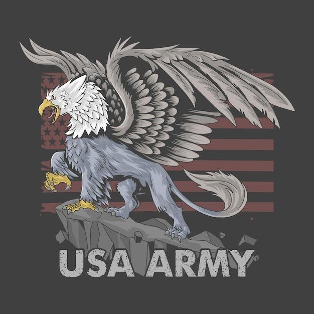 Орел-грифон с телом льва и большими крыльями как символ американской армии. Premium векторы