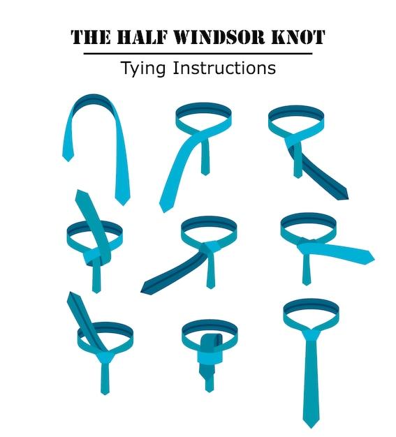 白い背景に分離されたハーフウィンザーネクタイノット命令。ネクタイの結び方のガイド。フラットイラスト Premiumベクター