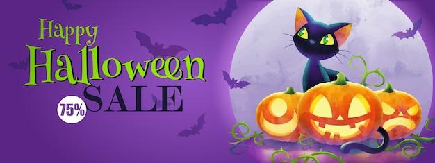 ハロウィーンの挨拶の概念、猫と紫色の背景に満月に対してカボチャのハロウィーン販売バナー Premiumベクター