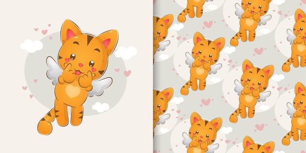 イラストのパターンセットの小さな翼を持つキューティーズ猫の手描き Premiumベクター