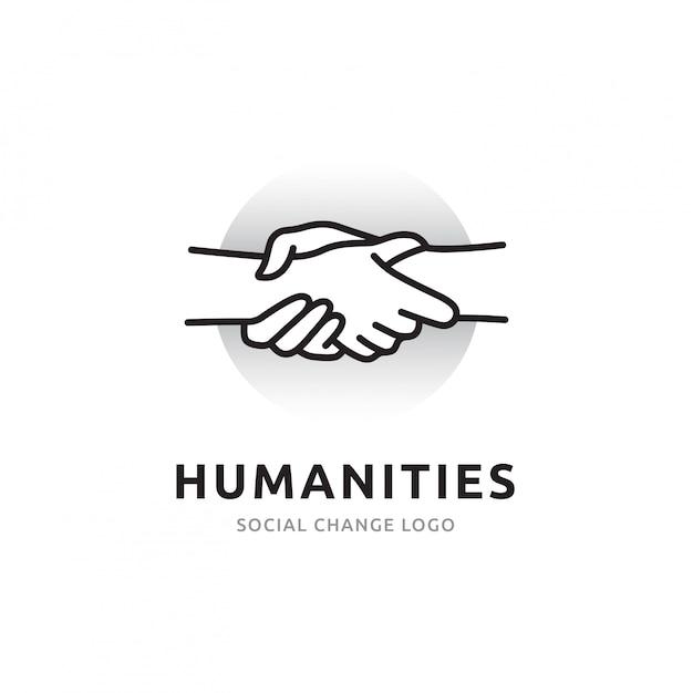 Рукопожатие логотип общей доступности людей и взаимодействия с обществом через сеть. icon линии символизируют связи с миром и другими людьми Premium векторы