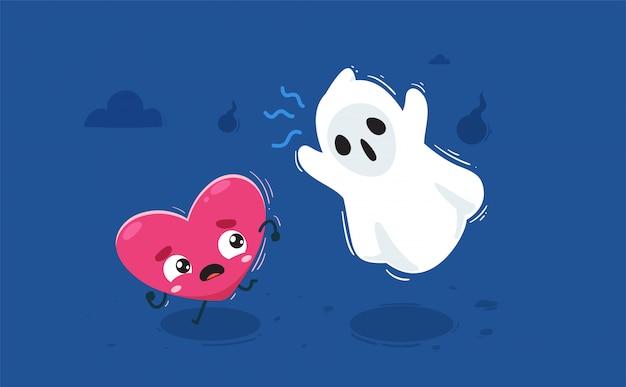 Сердце преследует призрак. изолированных иллюстрация Premium векторы