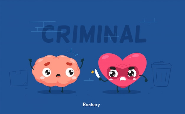 Сердце пытается ограбить мозг. изолированных иллюстрация Premium векторы