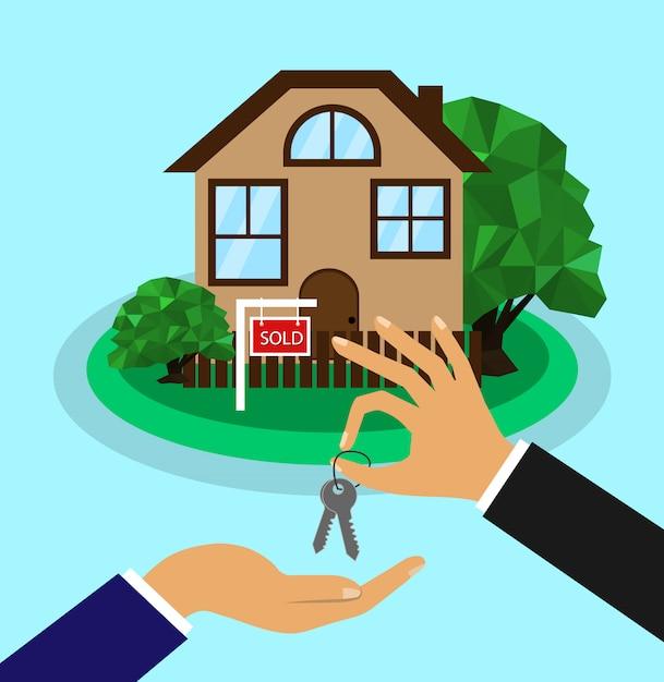 집이 팔렸다 판매 홈 개념입니다. 부동산업자는 구매자에게 집 열쇠를 제공합니다. 프리미엄 벡터
