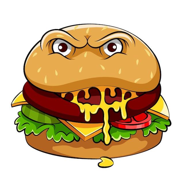 大きな目と野菜が入った美味しいハンバーガーモンスターのイラスト Premiumベクター