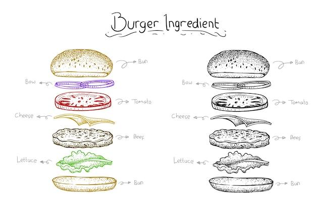 食材バーガーイラスト。ベクターの手描きスタイル Premiumベクター