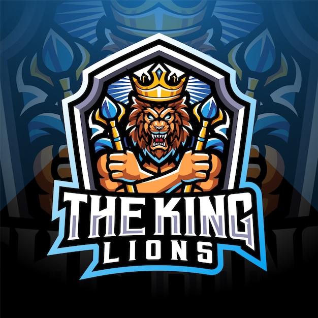 Дизайн логотипа талисмана киберспорта короля львов Premium векторы