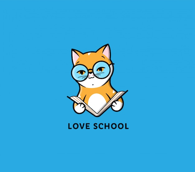 Логотип кошка читает книгу. забавный мультяшный котенок для воспитания Premium векторы
