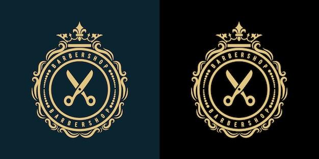 Логотип парикмахерской парикмахерской салона красоты и спа-бизнеса с винтажной королевской роскошью в стиле премиум Premium векторы