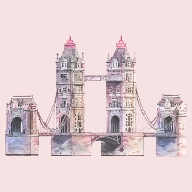 The London Tower Bridge painted by\ watercolor
