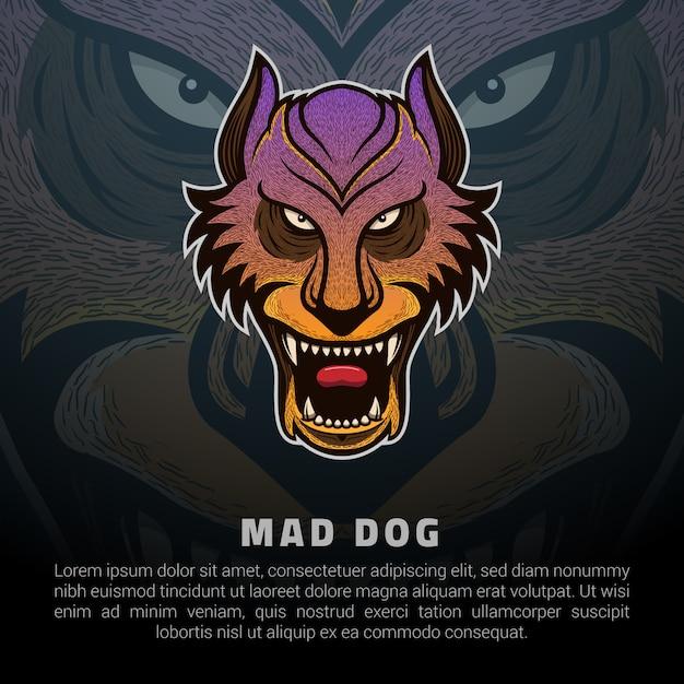 Логотип бешеной собаки Premium векторы