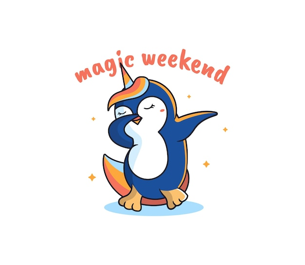 マジックユニコーンはペンギンです。漫画風の虹-動物のダンス、レタリングフレーズ、星の形。 Premiumベクター
