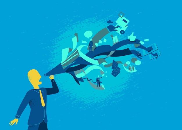 Менеджер по маркетингу устанавливает и запускает следующую кампанию Premium векторы