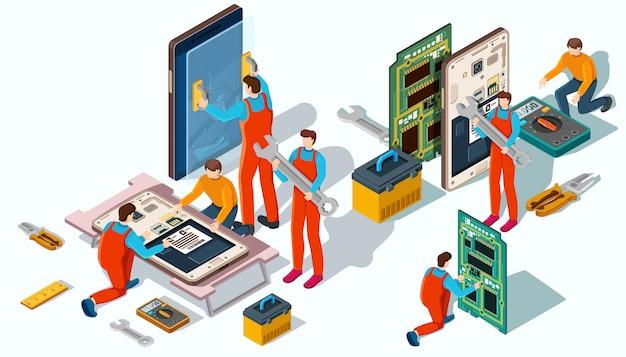 船長は携帯電話や機器の修理に従事しています。 Premiumベクター