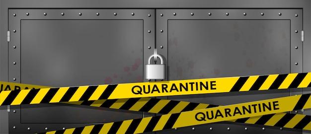 金属製のドアがロックされています。黒の警察ラインと黄色。入らないでください、危険。セキュリティ検疫テープ。 Premiumベクター