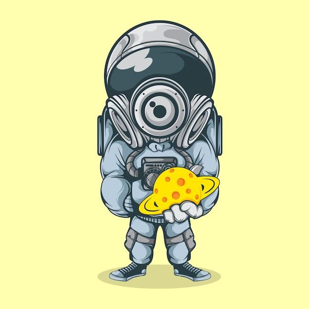 Мощный астронавт Premium векторы
