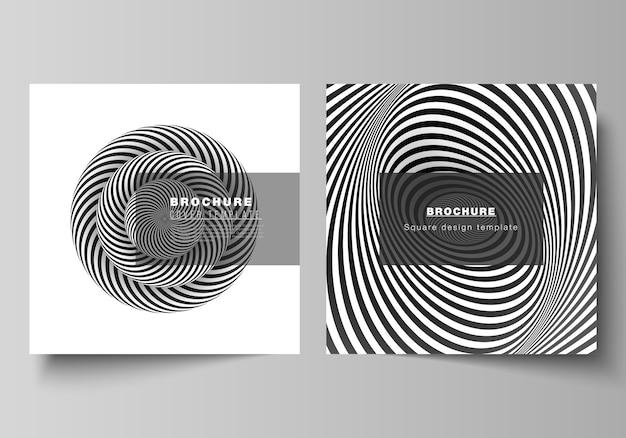 2つの正方形フォーマットの最小限のレイアウトは、パンフレット、チラシ、雑誌のデザインテンプレートをカバーしています。目の錯覚の黒と白のデザインパターンを持つ抽象的な3d幾何学的背景。 Premiumベクター